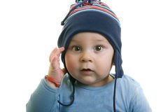 Baby with hat. Portrait of baby with a cap on his head Royalty Free Stock Photography