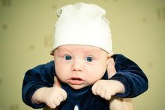 Baby in hat Stock Images