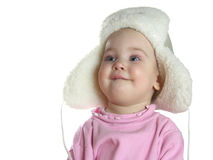 Baby with hat with earflaps. Isolated Stock Image
