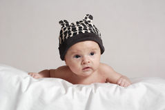 Baby in the hat with ears Stock Photos