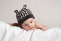 Baby in the hat with ears Royalty Free Stock Photography