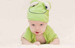 Baby in the hat frog. Lying on his stomach stock images