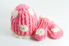 Baby hat and mittens. Royalty Free Stock Photography