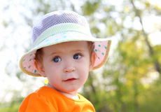 Baby in hat outdoor Royalty Free Stock Image
