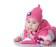Baby hat with pigtails Royalty Free Stock Photos