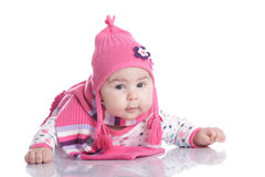 Baby hat with pigtails Royalty Free Stock Photo