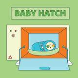 Baby hatch or baby box. Abandoned newborn boy or human male offs Stock Photography
