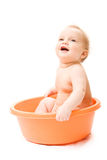 Baby having bath Stock Photos
