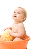 Baby having bath Stock Image
