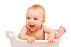 Baby having bath royalty free stock photography