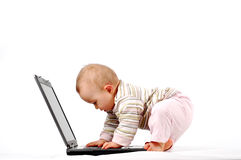 Baby having fun with laptop #13 Stock Image