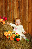Baby in hay Royalty Free Stock Photos
