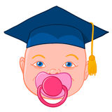 Baby head with graduation mortar Stock Photo