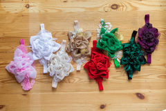 Baby headband, flower made of fabric and lace, beads Royalty Free Stock Photography