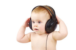 Baby with headphone Stock Photo