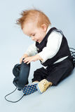 Baby with headphone Royalty Free Stock Photos