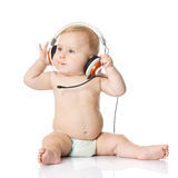 Baby with headphone Stock Images