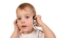 Baby with headphones 3 Royalty Free Stock Photo