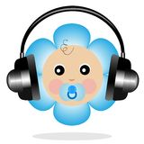 Baby in headsets on a white background Stock Image