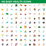 100 baby health icons set, cartoon style. 100 baby health icons set in cartoon style for any design vector illustration Stock Image
