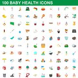 100 baby health icons set, cartoon style. 100 baby health icons set in cartoon style for any design illustration vector illustration
