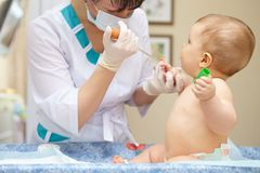 Baby healthcare and treatment. Blood tests. Royalty Free Stock Photo