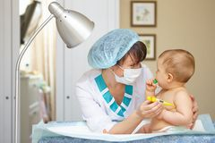 Baby healthcare and treatment. Medical symptoms. Temperature measurement Stock Photos