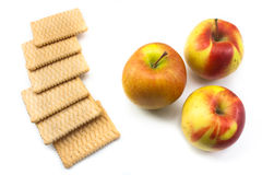 Baby healthy food crackers and bio apples Royalty Free Stock Images