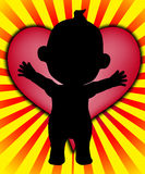 Baby Heart. Baby with a massive big heart of love Royalty Free Stock Photo