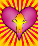 Baby Heart. Baby with a massive big heart of love Stock Photos