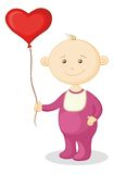 Baby with a heart balloon Stock Images