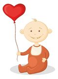 Baby with a heart balloon Stock Photos