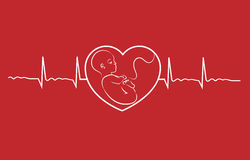 Baby and heart beat. Baby on heart concept linear design vector. Heart beat graph of a pregnant woman Stock Photography