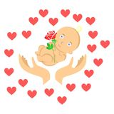 Baby and hearts Stock Image