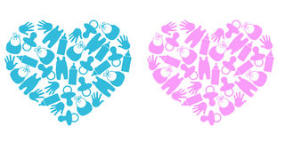 Baby hearts. Illustration which depicts two hearts royalty free illustration