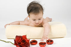 Baby, Hearts, & Rose Stock Photos