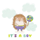 Baby Hedgehog - for Baby Shower or Baby Arrival Cards royalty free illustration