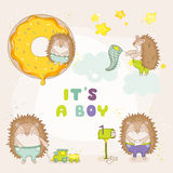 Baby Hedgehog Set - for Baby Shower or Baby Arrival Cards. In vector Royalty Free Stock Photography