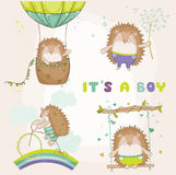 Baby Hedgehog Set - for Baby Shower or Baby Arrival Cards. In vector Stock Photos
