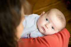 Baby held in mother's arms Royalty Free Stock Image