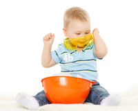 Baby with helmet and protective glasses. Stock Photo