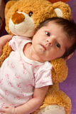 Baby with her  bear Royalty Free Stock Photography