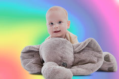 Baby and her toy royalty free stock photos