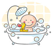 Baby in het bad Royalty-vrije Stock Afbeeldingen