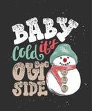 Baby het de koude van ` s buiten Hand getrokken kalligrafie voor Kerstmis en Nieuwjaarvakantie, donkere achtergrond vector illustratie