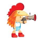 Baby in het kippenmasker kip beeldverhaal karakter Een jongen met een kanon Stock Fotografie