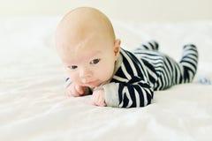 Baby het proberen houdt hoofd stock foto