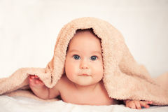 Baby is hiding under the white blanket. Baby girl is hiding under the white blanket Royalty Free Stock Photo