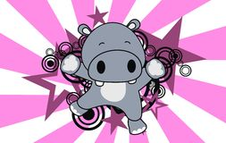Baby hippo jumping cartoon background Royalty Free Stock Images