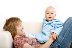 Baby and his mother Stock Photography
